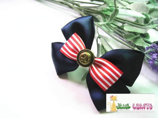 HOW TO MAKE A  NAVY STYLE HAIR BOW CLIP