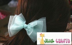 How to Make a Water Blue Gauze Hair Bow Clip