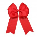 "12pcs 4"" Tails Down Solid Grosgrain Cheer Bow/Cheerleading Bows NO CLIP-Peppy Red"