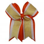 12pcs 5 inch gold / white 3 layered cheer bow clip-torrid orange