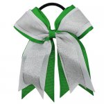 12pcs 5 inch silver / white 3 layered cheer bow ponytail holder-classical green