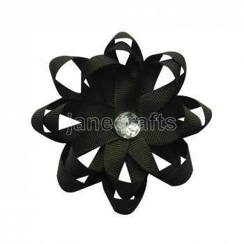 12pcs 3  Layered Flower Loop Hair Bow Clips with Rhinestone Center-Black
