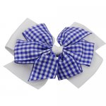 12 pcs school color white / royal gingham 4 inch layered pinwheel bow w/ alligator clip
