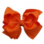 12pcs 5 inch layered boutique bow clip-torrid orange