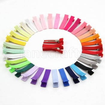 Ribbon Covered Lined Alligator Clips 50pcs - SOLID COLOR RIBBON
