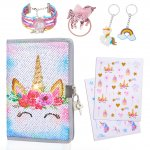 pickyNproud Flower Unicorn Notebook Sets with Keychain, Hair rope, Bracelets, Cute Pattern Stickers Children Dairy Books