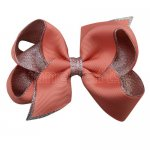 12pcs 4.5 inch silver layered boutique bow clip-lt. coral