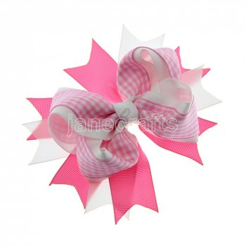 12pcs 4.5  Gingham Layered Spike Hair Bow Without Clip- Hot Pink