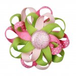 "12pcs 3"" Flower Loop Hair Bow NO Clip-Lt Pink/Hot Pink/Apple Green"