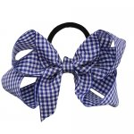 12 pcs school color navy gingham 5 inch boutique bow w/ pony tail holder