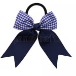 12 pcs school color navy / navy gingham 3.5 inch cheerleading bow w/ pony tail holder