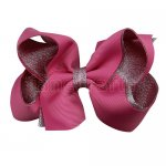 12pcs 4.5 inch silver layered boutique bow clip-hot pink