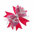 "12pcs 4.5"" Gingham Layered Spike Hair Bow With Clip- Shocking Pink"