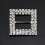 25pcs 27mm Rectangular Rhinestone Buckle Invitation Ribbon Slider For Wedding Party Supply