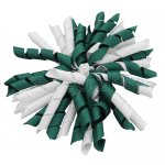 12 pcs school color white / hunter green grosgrain 5 inch korker bow w/ lined clips