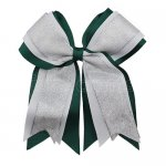 12pcs 5 inch silver / white 3 layered cheer bow clip-hunter