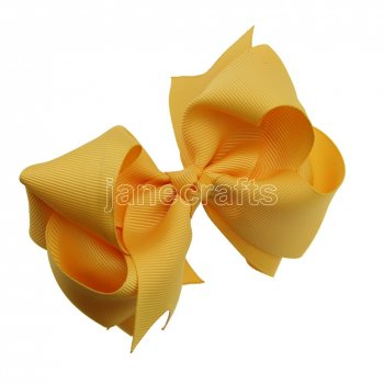 12pcs 4  Double Layer Grosgrain Boutique Chunky Hair Bows With Clips-Gold
