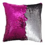 10pcs wholesale fushia / silver two tone reversible sequin cushions cover pillow case