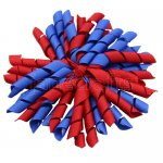 12 pcs school color red / royal grosgrain 5 inch korker bow w/ lined clips