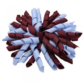 12 pcs school color burgundy / bluebird grosgrain 5 inch korker bow w/ lined clips