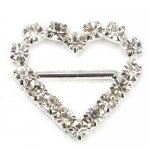 20mm 50pcs Heart Rhinestone Buckle Invitation Ribbon Slider For Wedding Supply Silver Color