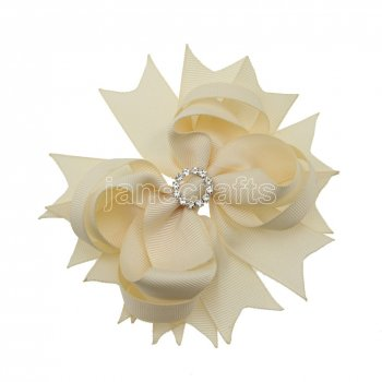 12pcs 4.5  Bling Spike Hair Bows with Rhinestone Slider Center With Clips-Cream