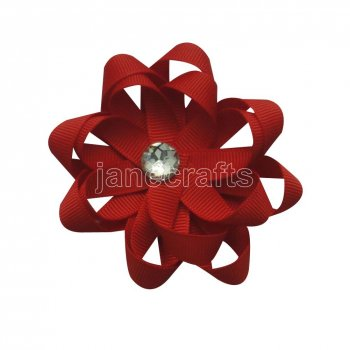 12pcs 3  Layered Flower Loop Hair Bows NO CLIP with Rhinestone Center-Peppy Red