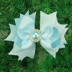 "12pcs 4"" Hair Bows with Pearl Rhinestone Center With Clips-Lt Blue"