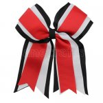12pcs 5 inch black / white 3 layered cheer bow clip-red