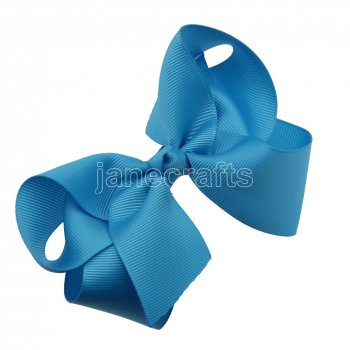 12pcs 4.5  Solid Grosgrain Chunky Boutique Hair Bows With Clips-Turquoise