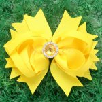 "12pcs 4.5"" Hair Bows with Acrylic Rhinestone Center With Clips-Lemon"