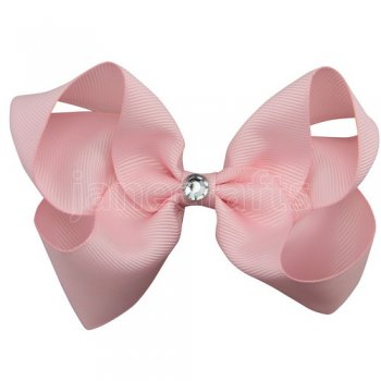 12pcs 4 inch bling center boutique bow clip-lt. pink
