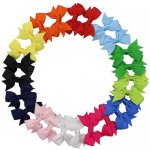 "12 pairs 2"" Solid Grosgrain Pinwheel Pigtail Hair Bow Clips Wholesale Mix 12 Coloar"