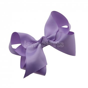 12pcs 4.5  Solid Grosgrain Chunky Boutique Hair Bows With Clips-Lt Orchid