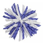 12 pcs school color white / royal gingham 5 inch korker bow w/ lined clips