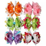 "4"" Polka Dot Boutique Spike Hair Bow Clips Wholesale 12PCS MIX 6 Color"