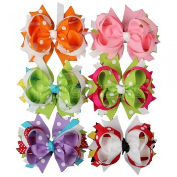 4  Polka Dot Boutique Spike Hair Bow Clips Wholesale 12PCS MIX 6 Color