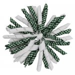 12 pcs school color white / green gingham 5 inch korker bow w/ lined clips