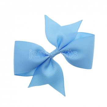 12pcs 4  Solid Pigtail with Spike Hair Bows NO CLIP-Blue Mist