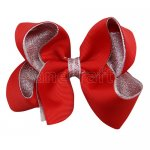 12pcs 4.5 inch silver layered boutique bow clip-poppy red