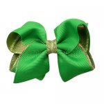 12pcs 3.5 inch gold layered boutique bow clip-emerald