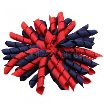 12 pcs school color red / navy grosgrain 5 inch korker bow w/ lined clips