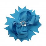 "12pcs 4.5"" Bling Spike Hair Bows with Rhinestone Slider Center Without Clips-Turquoise"