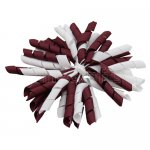 12 pcs school color white / burgundy grosgrain 5 inch korker bow w/ lined clips