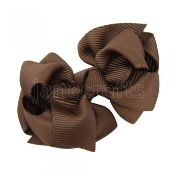 12pcs 2.5 inch layered boutique bow clip-brown