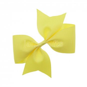 12pcs 4  Solid Pigtail with Spike Hair Bow Clips-Lemon