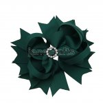"12pcs 4.5"" Bling Spike Hair Bows with Rhinestone Slider Center With Clips-Hunter School Color"