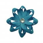 "12pcs 3"" Layered Flower Loop Hair Bows NO CLIP with Rhinestone Center-Turquoise"