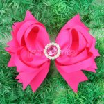"12pcs 4.5"" Hair Bows with Acrylic Rhinestone Center With Clips-Shocking Pink"