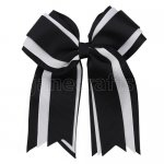 12pcs 5 inch black / white 3 layered cheer bow clip-black